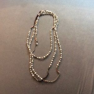 Pearl, silver and brass necklace.